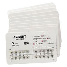 10X AZDENT Dentista Orthodontic Metal Bracket Brace Mini MBT Slot.022 Hook 3-4-5