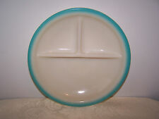 FIRE KING CHILDS 3 SECTION DIVIDED PLATE - IVORY WITH TURQUOISE TRIM 7 1/2 INCH