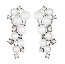 Clip On Earrings - silver pearl earring with clear crystal diamantes - Colola