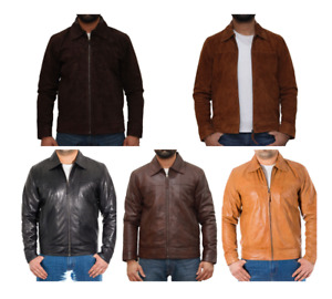 Mens Smart Shirt Collar Leather Fitted Jacket in Brown, Tan and Black