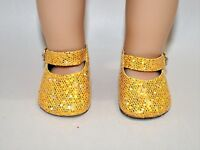 """Fits American Girl Dolls Our Generation 18"""" Doll Clothes Gold Glitter Shoes"""