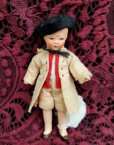 """Antique/Vintage Painted Bisque Dollhouse Boy Doll Nice Outfit 4"""" Adorable"""