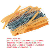 600Pcs 30 Kinds Value Metal Film Resistor pack 1/4W 1% Resistor Assorted KitBDA