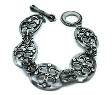 Vintage Style Steel Men Steel Men's Chain Link Roman Jewelled Cross Bracelet