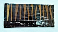 New listing Vintage 1950's 12 piece Teak Wood Hors D'Oeuvre Picks, Japan New, factory packed