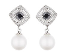 Clip On Earrings - silver luxury drop with a black stone & pearl - Nanda