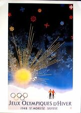 "1948 St.Moritz - WINTER OLYMPIC POSTER - IOC Licensed reprint - 13"" x 18"""