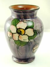 Vintage Torquay ware vase flower design on purple 11cm