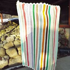 """Crochet Afghan Shells in Soft White with Multi-Color Stripes 72"""" x 52"""" EUC."""