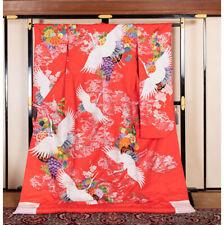 Japanese Kimono Robe Dress Cardigan Jacket Flying Crane Uchikake Red N782