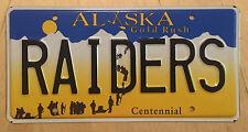 """ALASKA  VANITY License Plate """" RAIDERS """" OAKLAND LOS ANGELES NFL FOOTBALL"""