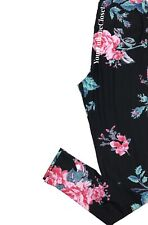 Lularoe LEGGINGS Black Pink Roses With Aqua Accent One Size Os NWT NEW