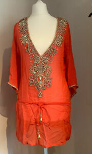 Elizabeth Hurley Beach Silk  Red Embellished Cover Up Size S