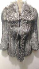 new design 100% real silver fox fur coat