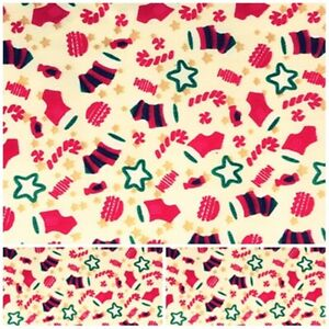 Polycotton Fabric Craft CHRISTMAS XMAS STOCKING CANDY Metre Material