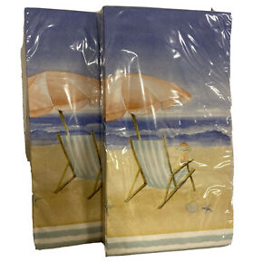 Beach Breeze Chair Ocean Paper Guest Towel Napkin Lot of 2 Packages 40 Ct