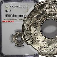 British West Africa George V 1928 1/10 Penny NGC MS64 NICE GEM Toning  KM# 7