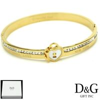 "DG Women's 6.5"" Gold Stainless-Steel 6mm CZ Ice-Out Bangle,Charm Bracelet*Box"