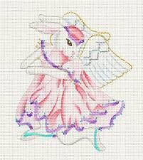 dede Child's Ballerina Bunny Rabbit Angel in Pink Handpainted Needlepoint Canvas