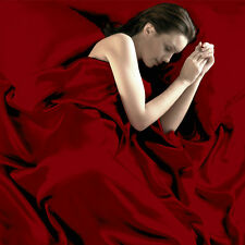95gsm 4 Pce Luxury Satin Silk Soft QUEEN Bed Fitted Sheet Set - Red