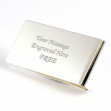Personalised Engraved Silver Plated Large Money Clip Usher Groom Best Man Gift