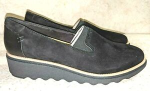 NEW- CLARKS Sharon Dolly Suede Loafer, Black Women's Size 7.5 M, MSRP $119