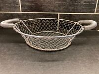 """Vtg Large Silver Metal Chicken Wire Round Egg Fruit Basket Rustic Farmhouse 18"""""""