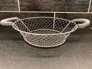 "Vtg Large Silver Metal Chicken Wire Round Decor Basket Rustic Farmhouse 18"""