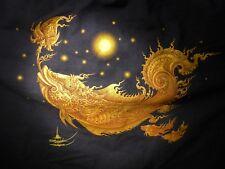 BUDDHIST SHRINE TEMPLE SHIRT JACKET WEIRD MYTHICAL DRAGON FISH THAI CHINESE YOGA