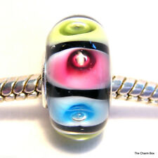 'PASTEL BUBBLES' Black/Pink/Blue/Yellow Murano Glass European Bead-S'gle Core