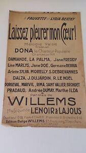 Laissez pleurer mon cœur - Dona & co. Edition Belge Willems (1917)