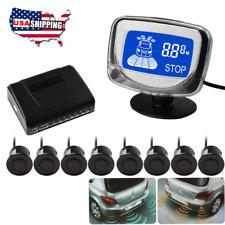 Car Lcd Display Reverse Backup Front + Rear Radar System 8 Parking Sensor Kit Us
