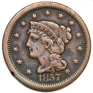 1857 N-1 Lg Date Braided Hair Large Cent Coin 1c