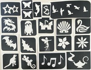 20 Self Adhesive Mixed Design Stencils Set for Body Art or Crafts.