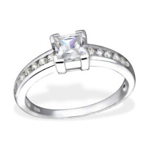 Ladies 925 STERLING SILVER Square Cubic Zirconia Engagement Ring Commitment CZ