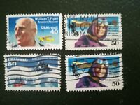 N°154 - 4 timbres années 60 usa airmail t.piper h qimby atlantic