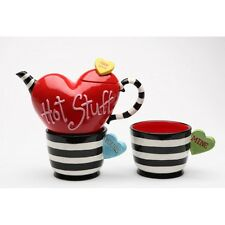 "CERAMIC ""HOT STUFF"" HEARTS STRIPES RED,BLACK,WHITE TEA FOR TWO SET,TEAPOT,POT"