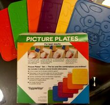 (1 Set) New Vintage Tupperware Picture Plates 6 double-sided plates