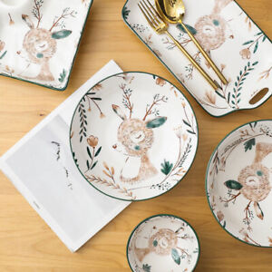 """Little Deer"" Cute Dishes Dinner Plates Baking Tray Home Restaurant Dinnerware"