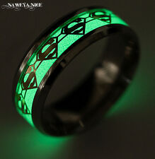 Superman Lumious Ring Stainless steel  Ring Fluorescent Glowing Superman Logo