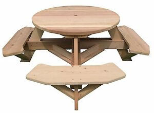 """45"""" Round Top Western Red Cedar Picnic Table with Easy Seating"""