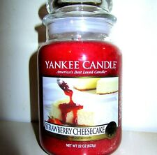 """Yankee Candle Retired """"STRAWBERRY CHEESECAKE""""~Large 22 oz ~ WHITE LABEL~RARE~NEW"""