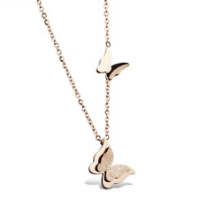 Fashion Unisex 316L Stainless Steel butterfly Chain Pendant Necklace Gift GX996