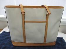 Dooney Bourke Large Lexington Beige Pebbled & Tan Leather Zip Shoulder Tote