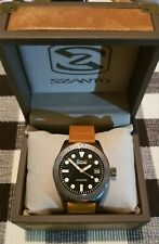 Szanto Vintage Dive, Gun Gray Black, Tan Leather, QUARTZ Watch