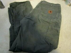 Worn/Used CARHARTT WORK PANTS 34 X30 Olive Green Dungaree Jeans  Original Fit