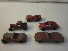 VINTAGE PRESS METAL MINIATURE CARS TOOTSIE TOYS 5 RED RED CARS & JEEP