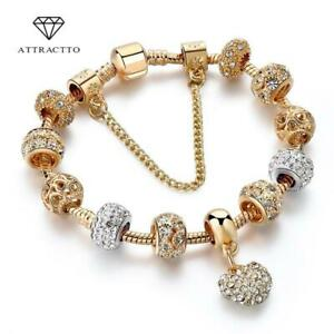 Crystal Charm Bracelets Gold Bracelet For Womens Ladies Bead Safety Chain UK