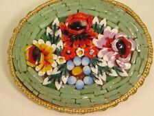 Vintage Large Micro Mosaic Pin Brooch Stamped ITALY Big Green
