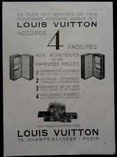 publicité ancienne  LOUIS VUITTON BAGAGES  VALISES PORTE HABITS     (Z2)